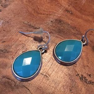 Hammered silver blue earrings